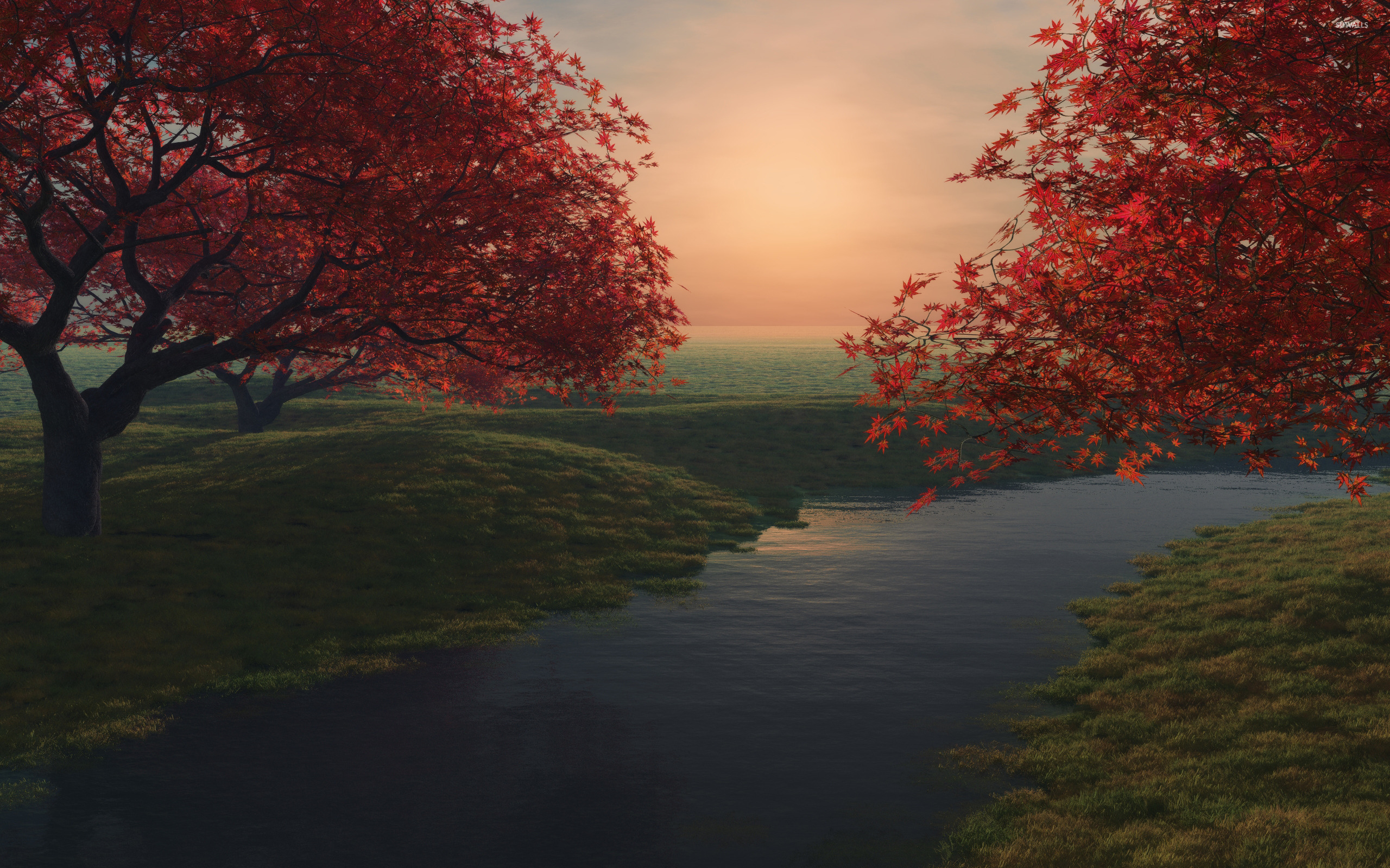 Red maple trees by the river wallpaper - Digital Art ...