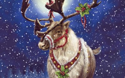 Reindeer with mistletoe wallpaper