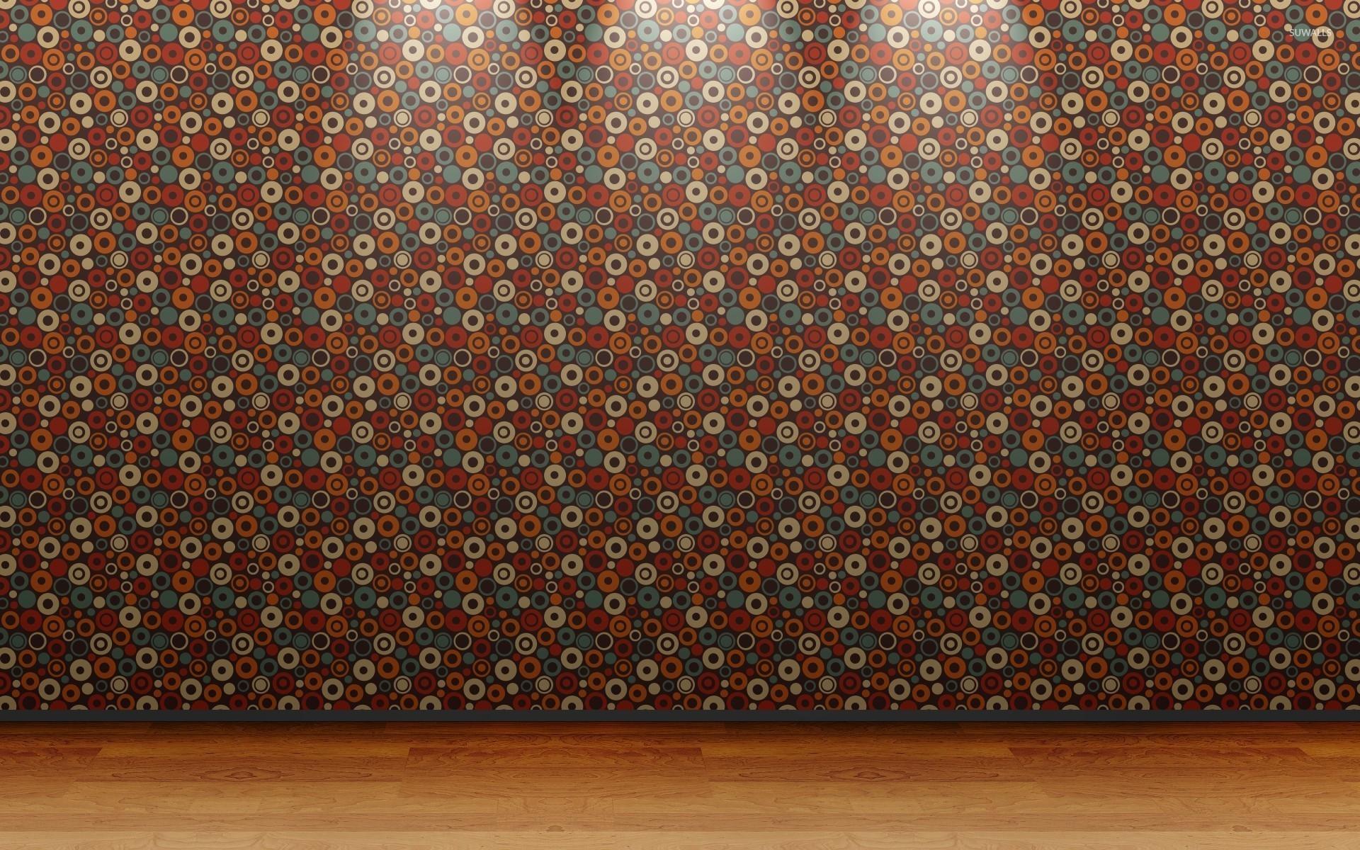 Retro circle wall pattern wallpaper digital art for Vintage wallpaper for walls