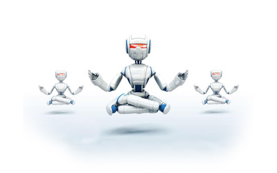 Robots meditating wallpaper