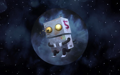 Sad robot floating in space wallpaper