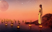 Sad woman watching the candles floating on the water wallpaper 2560x1600 jpg