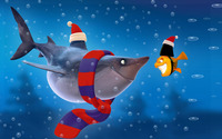Shark and fish at Christmas wallpaper 1920x1200 jpg