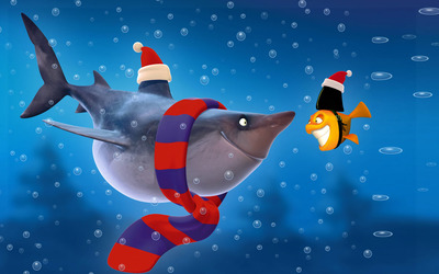 Shark and fish at Christmas wallpaper