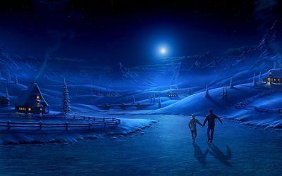 Skating under the moon light wallpaper