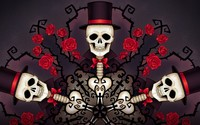 Skeletons in tophats and roses wallpaper 1920x1080 jpg