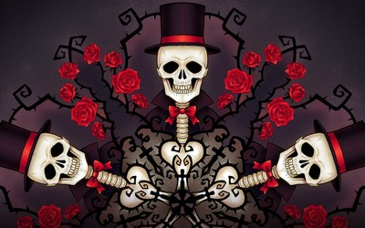 Skeletons in tophats and roses wallpaper