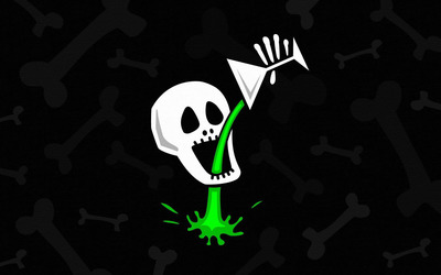 Skull drinking poison wallpaper