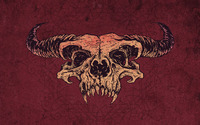 Skull with horns on purple background wallpaper 1920x1080 jpg