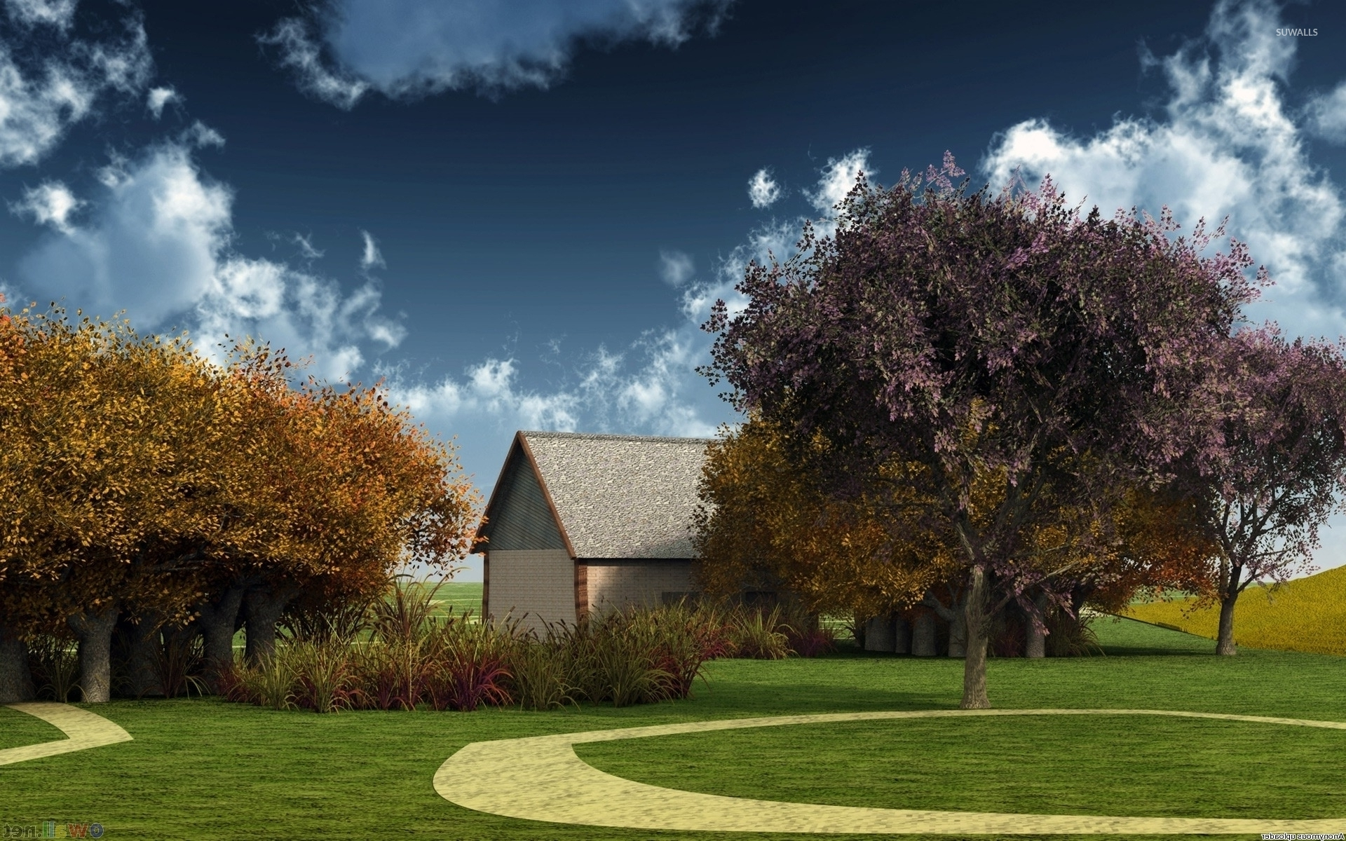 Small house near autumn trees wallpaper digital art for Tree wallpaper for home