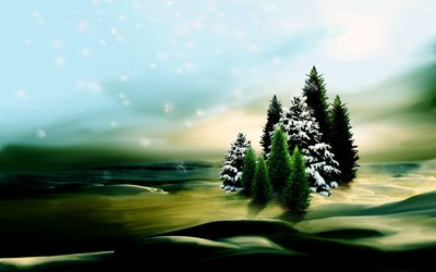 Snowy fir trees [2] wallpaper