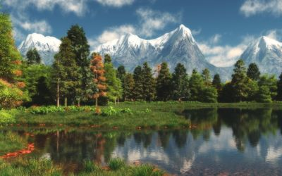 Snowy peaks by the autumn lake Wallpaper