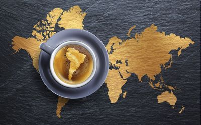 South America in coffee wallpaper