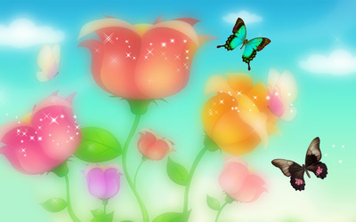 Sparkling roses and butterflies wallpaper