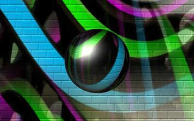 Sphere reflecting the graffiti wallpaper