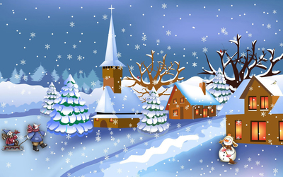 Splendid winter night in the snowman town wallpaper