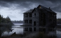 Spooky abandoned house in the middle of the foggy lake wallpaper 1920x1200 jpg