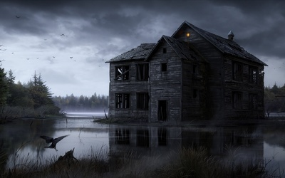 Spooky abandoned house in the middle of the foggy lake wallpaper