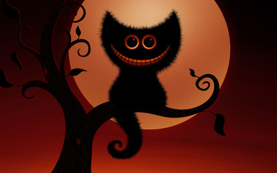 Spooky Cheshire cat wallpaper
