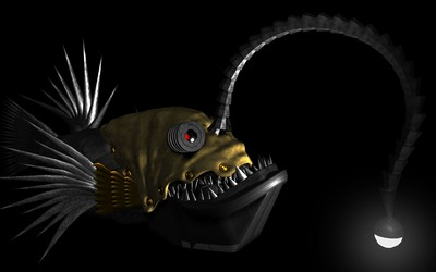 Steampunk anglerfish wallpaper
