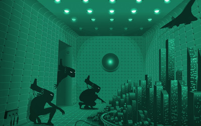 Strange experiment room wallpaper