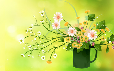 Summer bouquet in a mug wallpaper