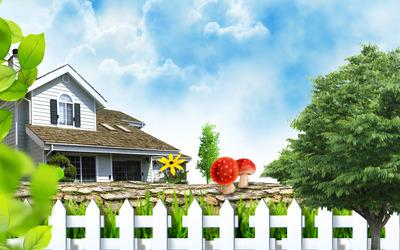 Summer house wallpaper