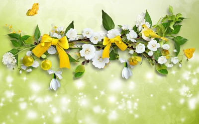 Summer wreath wallpaper