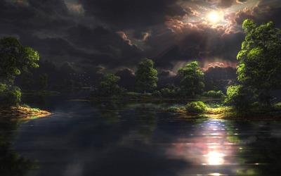 Sun piercing through dark clouds reaching to the lake Wallpaper