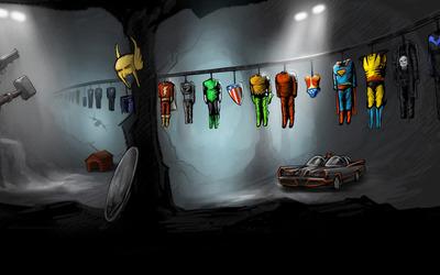 Superhero costumes hanged to dry wallpaper