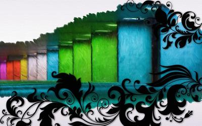 Swirls and multicolored bars wallpaper