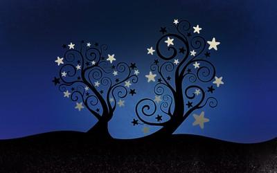 Swirly tree silhouette wallpaper