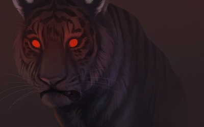 Tiger with red eyes wallpaper
