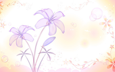 Translucent purple lilies wallpaper