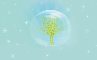 Tree in a bubble wallpaper