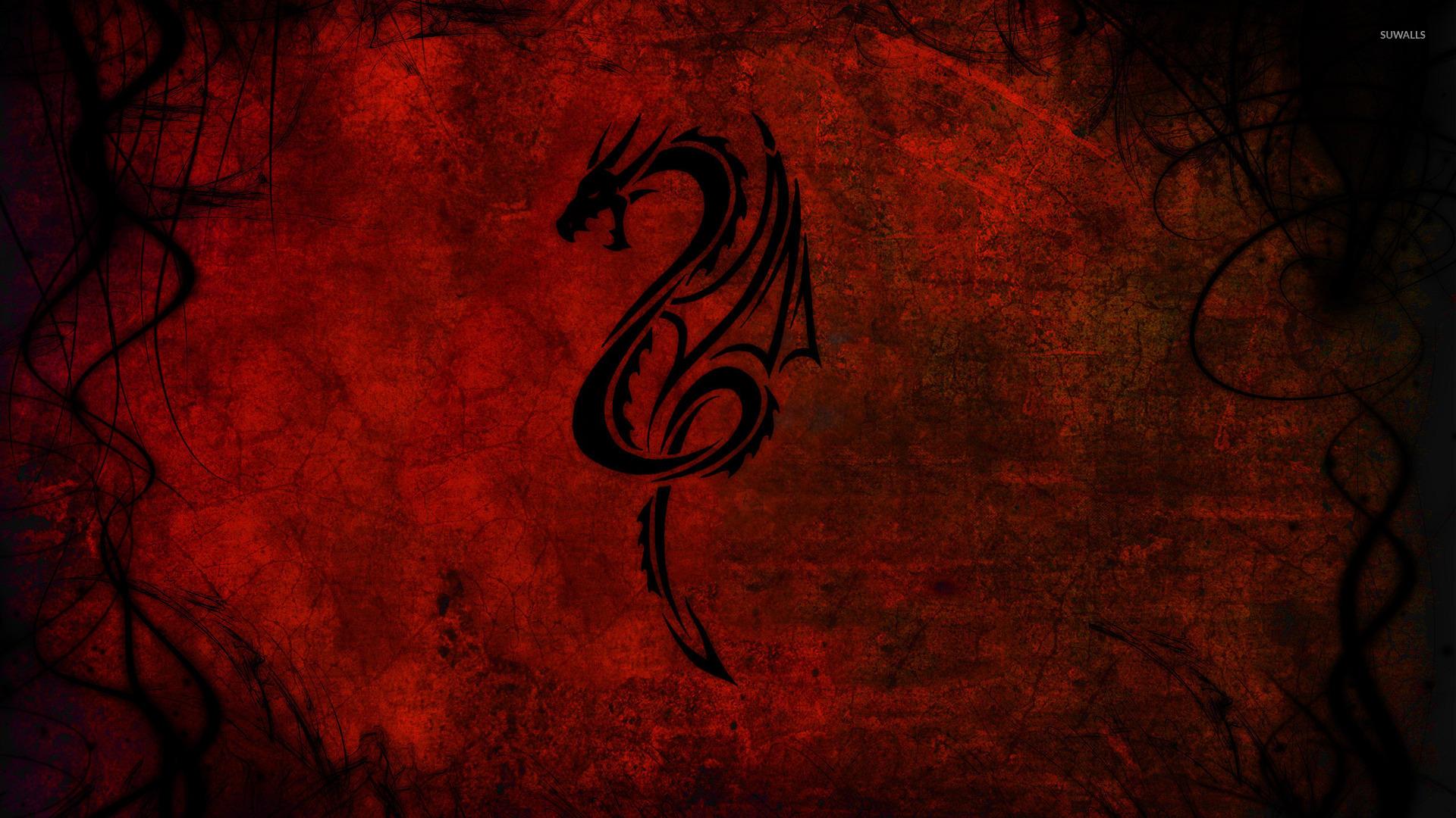 Tribal dragon tattoo on a red wall wallpaper - Digital Art ...