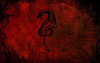 Tribal dragon tattoo on a red wall wallpaper 1920x1080 jpg