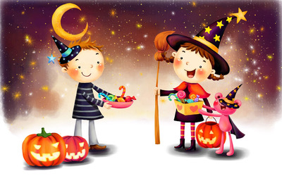 Trick or treaters wallpaper