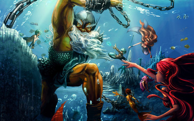 Triton and mermaids wallpaper