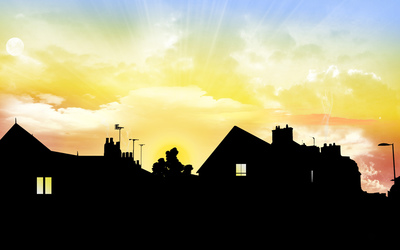 Unreal sunset above the houses wallpaper