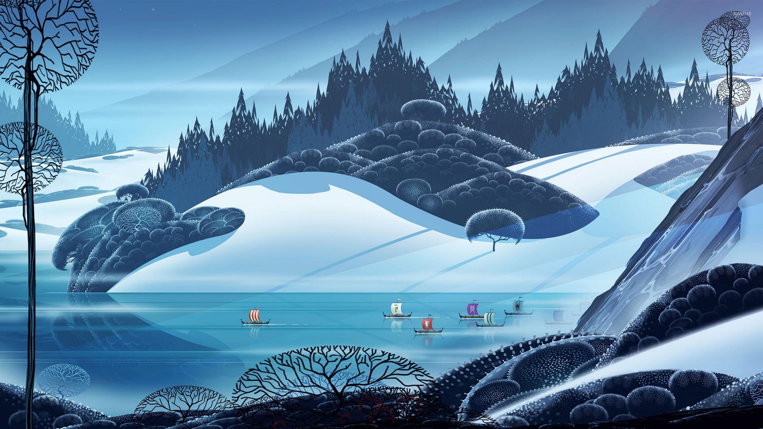 viking ship race wallpaper digital art wallpapers 26553