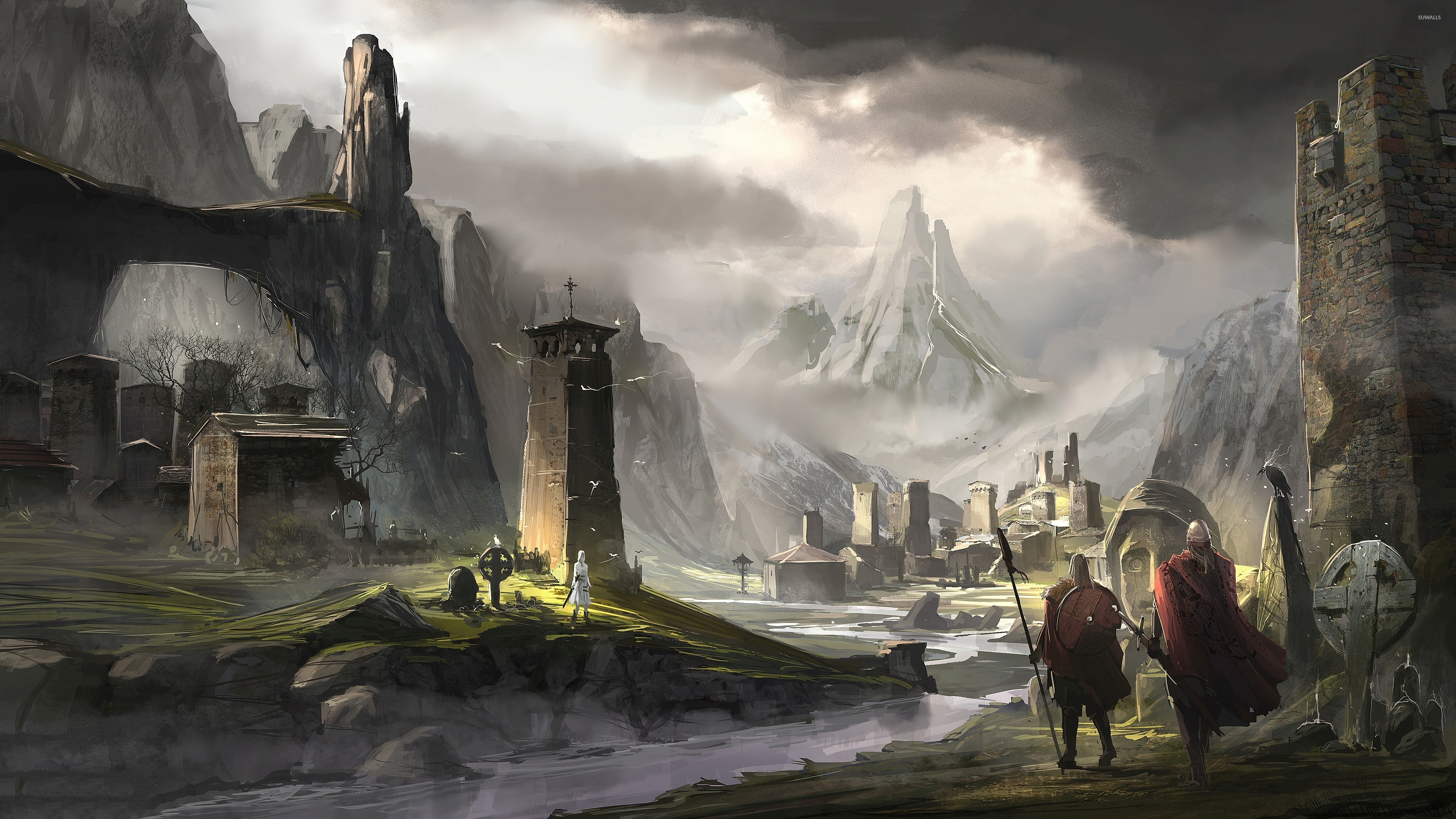 viking town in the rocky mountains wallpaper digital art