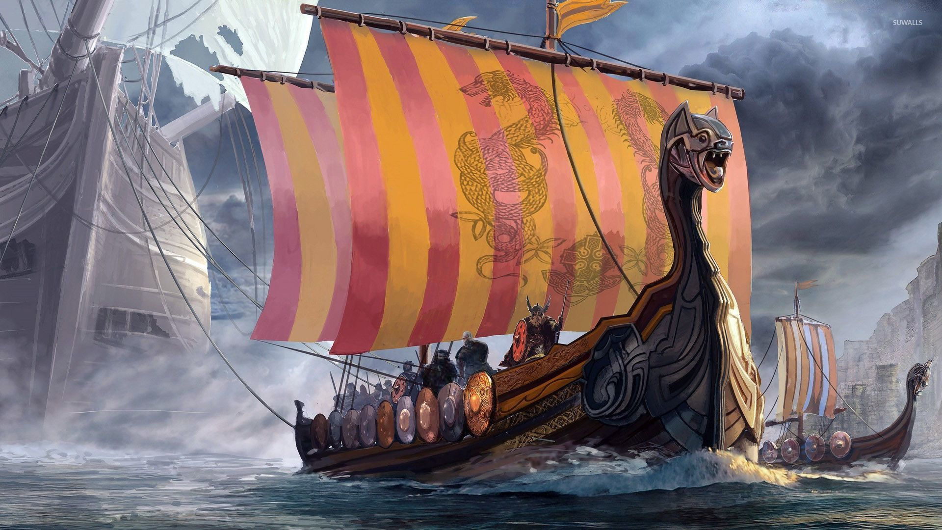 vikings wallpaper digital art wallpapers 46945