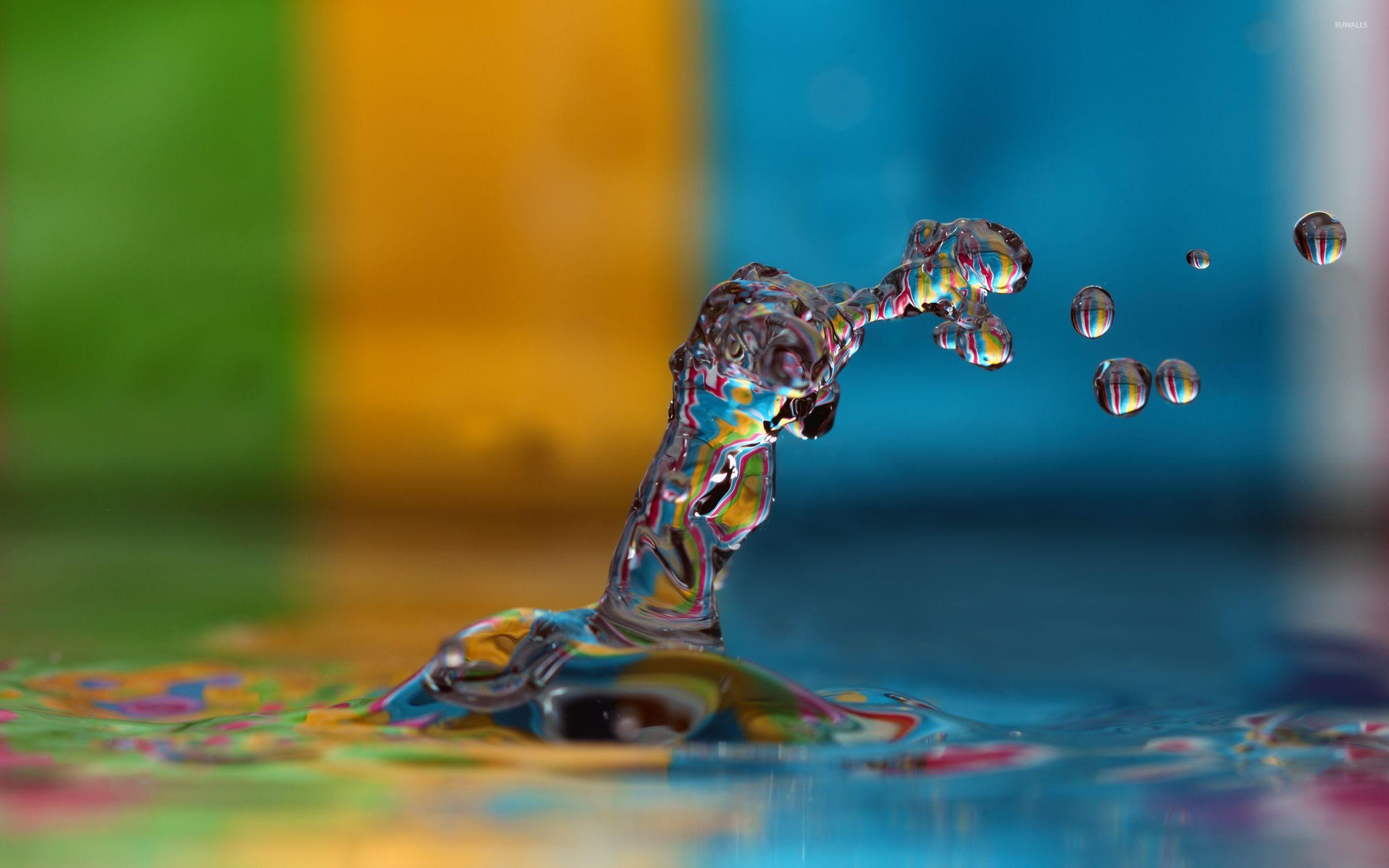 Digital art lots of water drops on the wall