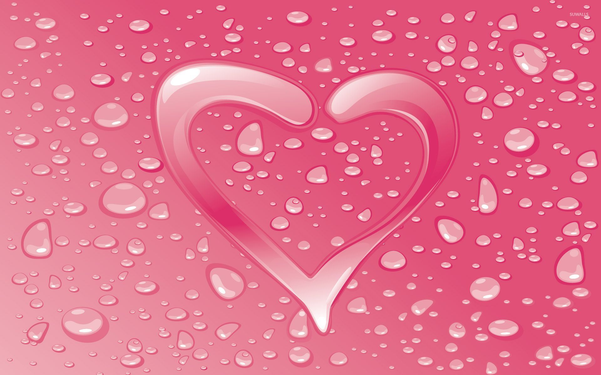 Water drops on the pink heart wallpaper - Digital Art ...