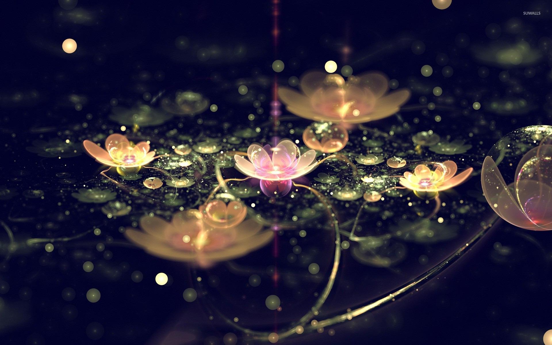 D digital art green lake full of water lilies