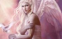 White angel holding a golden necklace wallpaper 1920x1200 jpg