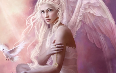 White angel holding a golden necklace wallpaper