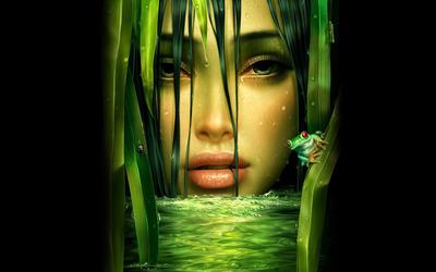 Woman in the jungle wallpaper