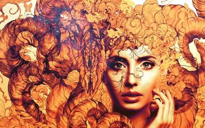 Woman surrounded by orange smoke wallpaper